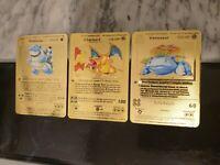 Gold Charizard Card Blastoise Venusaur Pokemon Base Set 1st First Edition Custom