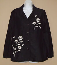 Womens Medium Long Sleeve Spring Fashion Black Embroidered Bead Floral Top Shirt