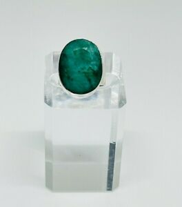 Gorgeous Chunky Real Emerald Stone Ring 925 Solid Silver Size K1/2~L #16312
