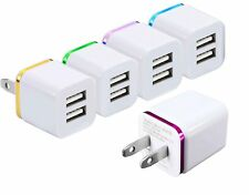 5-PACK Charger Adapter Multi-Colored AC 2-Port USB Plug