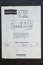 PIONEER A-757/A-656 VERSTÄRKER Orig Bedienungsanleitung/User Manual Top-Zust.!