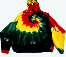 SIZE LARGE Hand-dyed TIE DYE HOODY Spectacular RASTA COLORS Hooded Sweatshirt