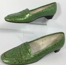 Talbots Green Alligator Penny Loafers Flats or Shoes Size 6 M