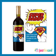Personalised Super Daddy Fathers Day Wine Label Gift