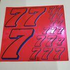 PINK CHROME w/Black & Blue #7's Decal Sticker Sheet 1/8-1/10-1/12 RC Models