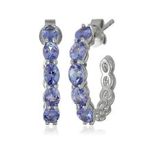 Pinctore Sterling Silver Tanzanite Half Hoop Earrings, 0.75""
