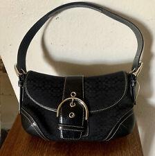 Authentic Coach Soho Hobo Black Jacquard/Leather Signature Shoulder Bag