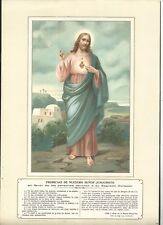 antique sheet of Sagrado Corazon de Jesus santino image pieuse prints
