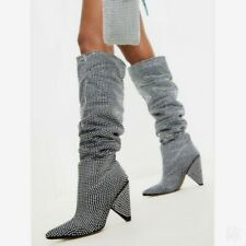 Luxury Women Embellished Rhinestone Crystal Covered Knee High Slouch Boots 34-43