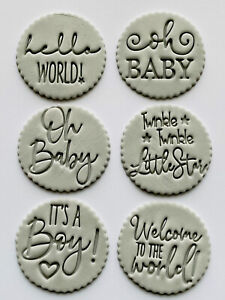 6 GREY baby Plaques, Edible Fondant Cupcake Toppers Baby shower