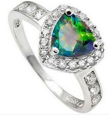 1.42 CARAT GREEN MYSTIC GEMSTONE & CUBIC ZIRCONIA Sterling Silver Ring (Size 7)