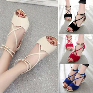 Fashion Summer WomenS T-Strap Beach Shoes Flat Sandals Wedge Ankle Strap Casual