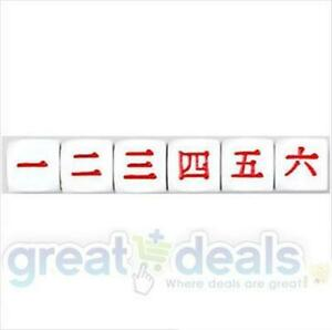 (QTY 6) Japanese KANJI 6 Sided Dice Set Koplow D6 D&D RPG Game Numbers