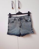 Blue Grey Washed High Waisted Jean Denim Shorts SIZE 12 Womens NEW