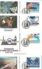 Les 4 FDC INAUGURATION DU TUNNEL SOUS LA MANCHE 5/05/1994 COQUELLES