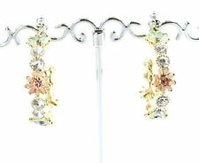 New Gold Tone Crystal Cubic Zirconia Diamante Hoop Earrings Ear Stud Design  UK