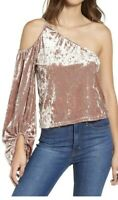 Leith Crushed Velvet Top Cold Shoulder Women's Size Extra Small XS Pink Adobe