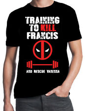 Deadpool Training To Kill Francis Save Vanessa Gym Weights Workout Black T-Shirt