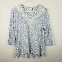 Chicos Womens Top Size 1 M Blue White Striped V Neck 3/4 Sleeves Embroidered