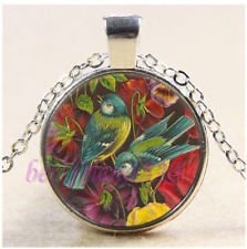 Bird and Rose Photo Cabochon Glass Tibet Silver Chain Pendant Necklace