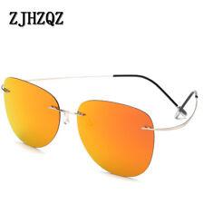Polarized 100% Titanium Sunglasse Mens Lightweight Rimless Pilot Round Eyewears