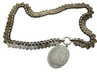"""Antique Silver Victorian Engine Turned Oval Locket Star Design & Heart Chain 18"""""""