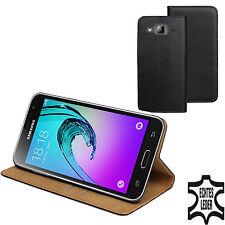 ECHT LEDER Buch Tasche Schutz Hülle SM-J320F/DS für Samsung Galaxy J3 2016 DuoS