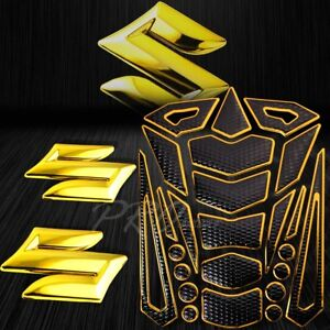 "24PCs Chromed Gold Fuel Tank Pad+2"" Very 3D Suzuki Logo Fairing Emblem Sticker"
