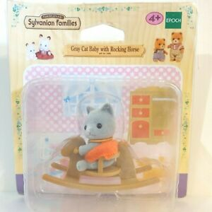 Sylvanian Families - Grey Cat Baby with Rocking Horse RARE - 5135