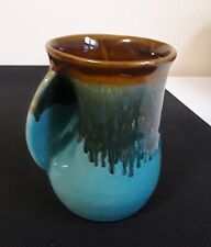 Signed Neher Pottery Clay Left Hand Warmer Coffee Tea Mug Glaze Aqua Brown 2011