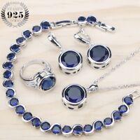4pcs Grand Rond Bleu Zircone Set Collier Bracelet Boucles Noël Cadeaux pour Elle