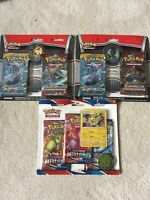 Pokemon Lot 3 Sun & Moon Crimson Invasion Packs with Pin Battle & Sword & Shield