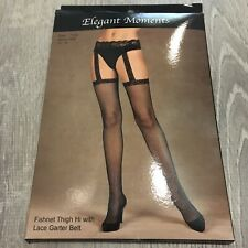 Elegant Moments Fish Net Thigh Hi With Garter Belt Sz Queen 1X 3X Black New Q22