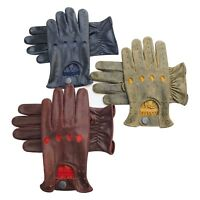 Prime Full Finger Driving Motorbike Fashion Crunch Cow Nappa Leather Gloves 507