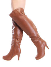 SIZE 7 TAN OVER THE KNEE HIGH HEEL STILETTO PLATFORM WOMAN SEXY SLOUCH BOOT P5