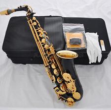 Top Quality Black Paint GOLd BELL Alto Sax Eb Saxphone Engraving high F saxofon