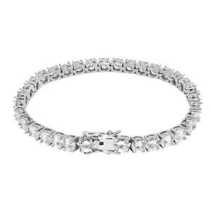 "Iced VVS Diamond Out Tennis Bracelet 5mm 18K White Gold Plated 7"" Rapper New"