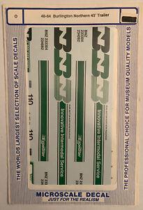 MICROSCALE O DECAL - BURLINGTON NORTHERN /BN 45' TRAILER - SET #1 -  ITEM #48-64