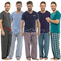Mens Cotton Jersey Pyjamas Check/Stripe Bottoms Jersey T Shirt Sizes S - 2XL