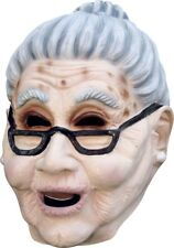 Old Lady Mask Grey Bun Latex Grandma Halloween Costume Accessory Over the Hill G