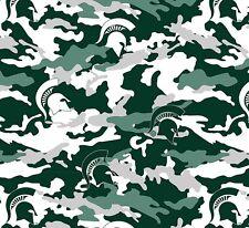 College Michigan State University Camo MSU Fleece Fabric Print BTY - smist820