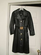 DAVIDSON'S black leather trench coat Size S Vintage womens