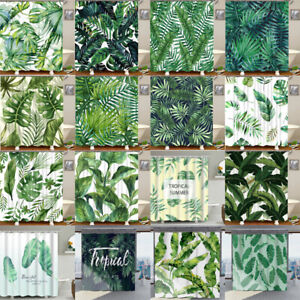 Chic Tropical Palm Leaf Polyester Bath Tub Shower Curtain With Hooks Rings 71""