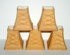 5 Gold Silk Square Chandelier Shades, Clip On, Graduated 5 Inch With Kross Bows