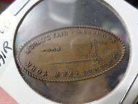 """1939 World Fair NY Elongated Penny, """"the world of tomorrow"""""""