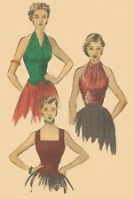 Vintage 1950'S Sewing Pattern Glamorous  Halter Neck Peter Pan Collar Top B 32""