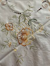 """Vintage Cotton Embroidered Cutout Tablecloth And Napkins Scallop Edge  70""""x52"""""""