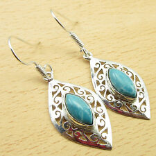 "Celtic Earrings Pair 1 7/8 "" 925 Silver Plated Simulated Larimar Gem Dangle"