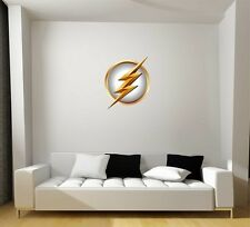 The Flash Symbol in White Repositionable Wall Decal Gift Superhero Crime-Fighter