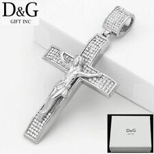 DG Men's Stainless Steel,Silver JESUS CROSS 87mm Large CZ Pendant.Unisex,Box